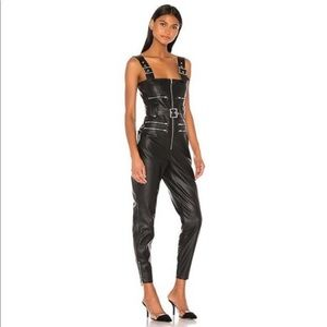 WHO WHAT WHERE Vegan Leather Moto Overalls Size XS